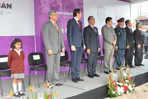 Autoridades estatales conmemoran CV Aniversario de la Revolución Mexicana
