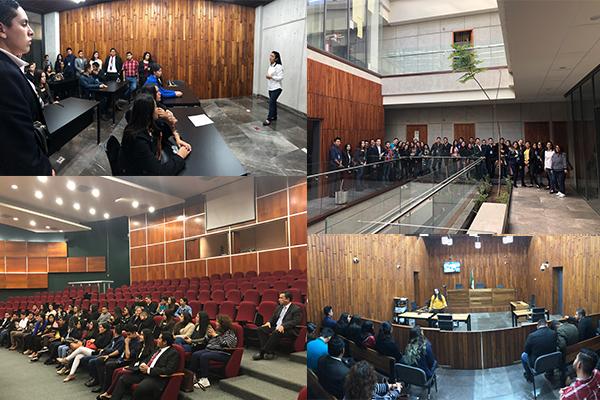 Alumnado de la Universidad Don Vasco de Uruapan visita el Palacio de Justicia José María Morelos