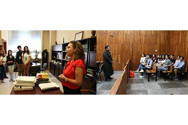 Jueza civil Margarita Leal Torrez y juez de oralidad penal Alejandro Sosa Maya conversan con estudiantes de Derecho