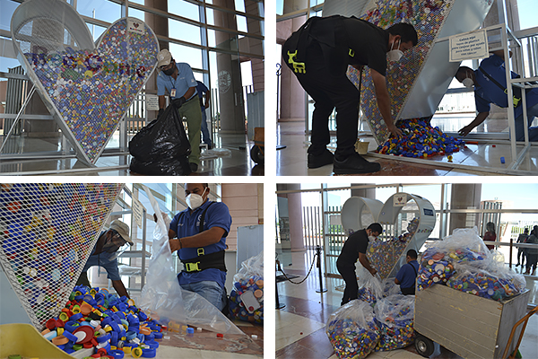 Poder Judicial entrega a Casa AMANC el cuarto corazón lleno de tapas de plástico para canjear por ayuda para niñas y niños con cáncer
