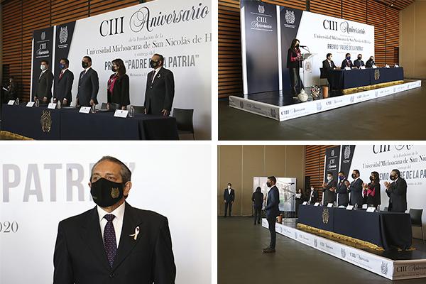 Héctor Octavio Morales Juárez formó parte del presídium durante la celebración del CIII Aniversario de la fundación de la Universidad Michoacana