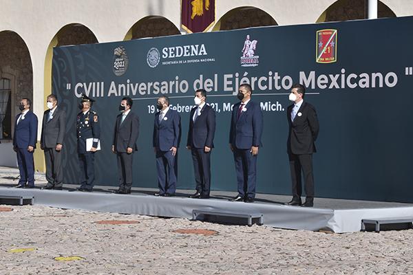 Autoridades de la entidad conmemoran el 108 Aniversario del Ejército Mexicano