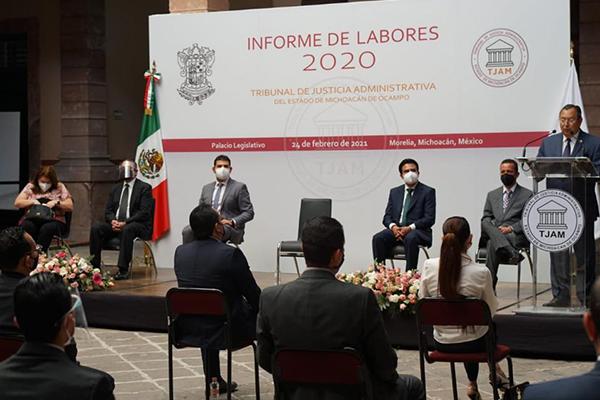 Poder Judicial de Michoacán presente en el Informe de Labores 2020 del Tribunal de Justicia Administrativa de la entidad